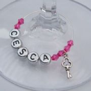 Key Personalised Wine Glass Charm